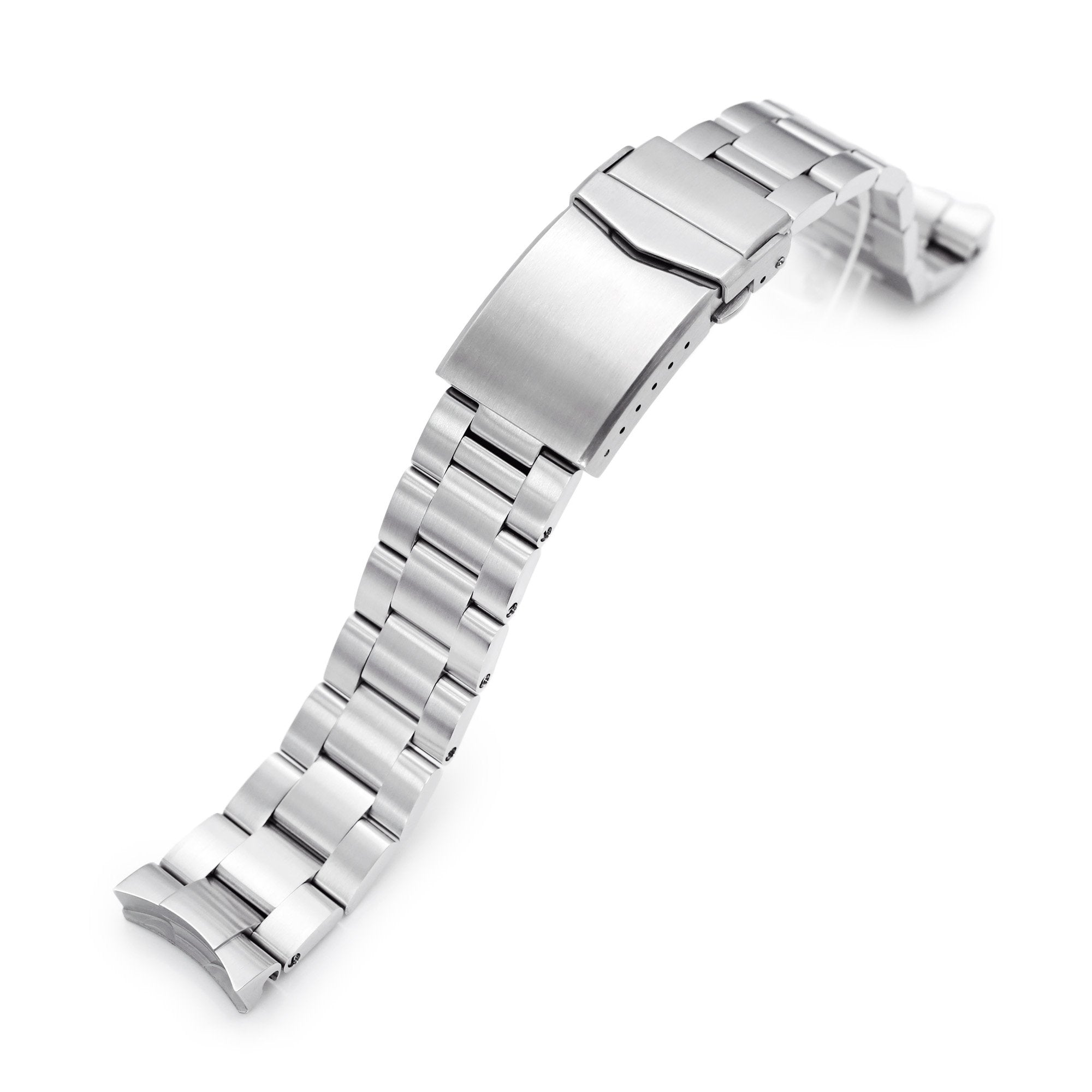 20mm Super-O Boyer 316L Stainless Steel Watch Band for New Seiko 5 40mm, Brushed V-Clasp Strapcode Watch Bands