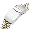 20mm Super-J Louis JUB 316L Stainless Steel Watch Bracelet for Seiko SKX013, V-Clasp Two Tone IP Gold Strapcode Watch Bands