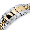 22mm Super-J Louis JUB 316L Stainless Steel Watch Bracelet for Seiko 5, Two Tone Brushed with IP Gold Center SUB Clasp Strapcode Watch Bands