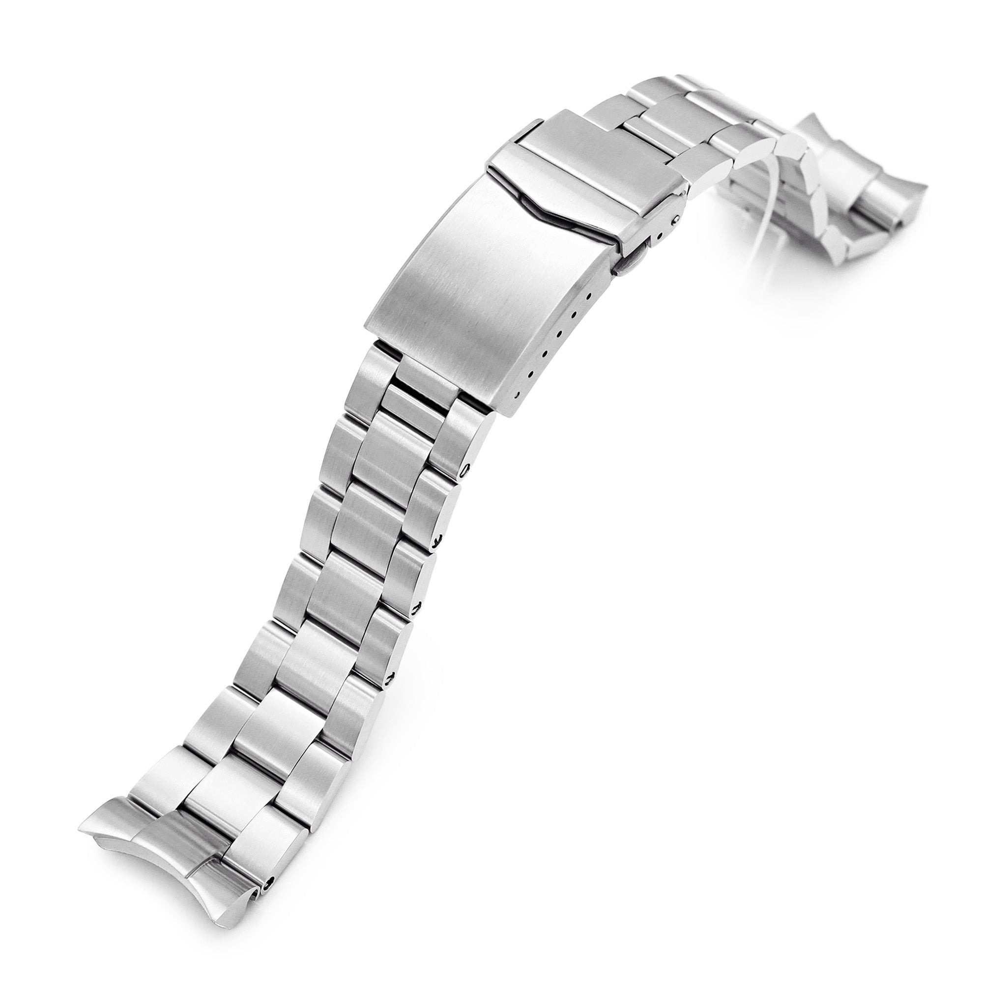 22mm Super-O Boyer 316L Stainless Steel Watch Band for Orient Mako II , Ray II, V-Clasp Button Double Lock Strapcode Watch Bands