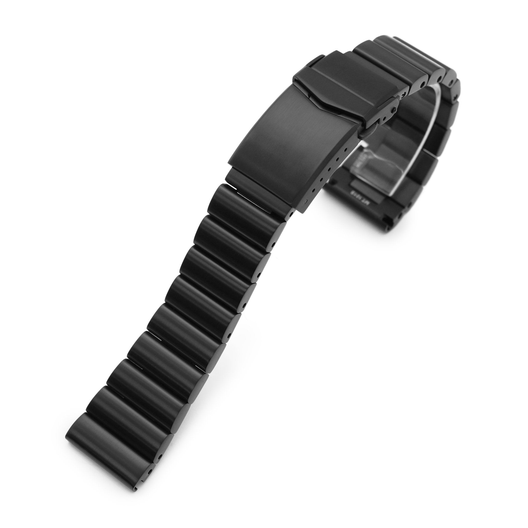 22mm Bandoleer 316L Stainless Steel Watch Band Straight End, PVD Black V-Clasp Strapcode Watch Bands