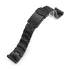 22mm Super-O Boyer 316L Stainless Steel Watch Band for Seiko new Turtles SRPC49, Diamond-like Carbon (DLC coating) V-Clasp Strapcode Watch Bands