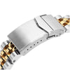 22mm Angus-J Louis 316L Stainless Steel Watch Band for Seiko 5, Two Tone IP Gold V-Clasp Strapcode Watch Bands