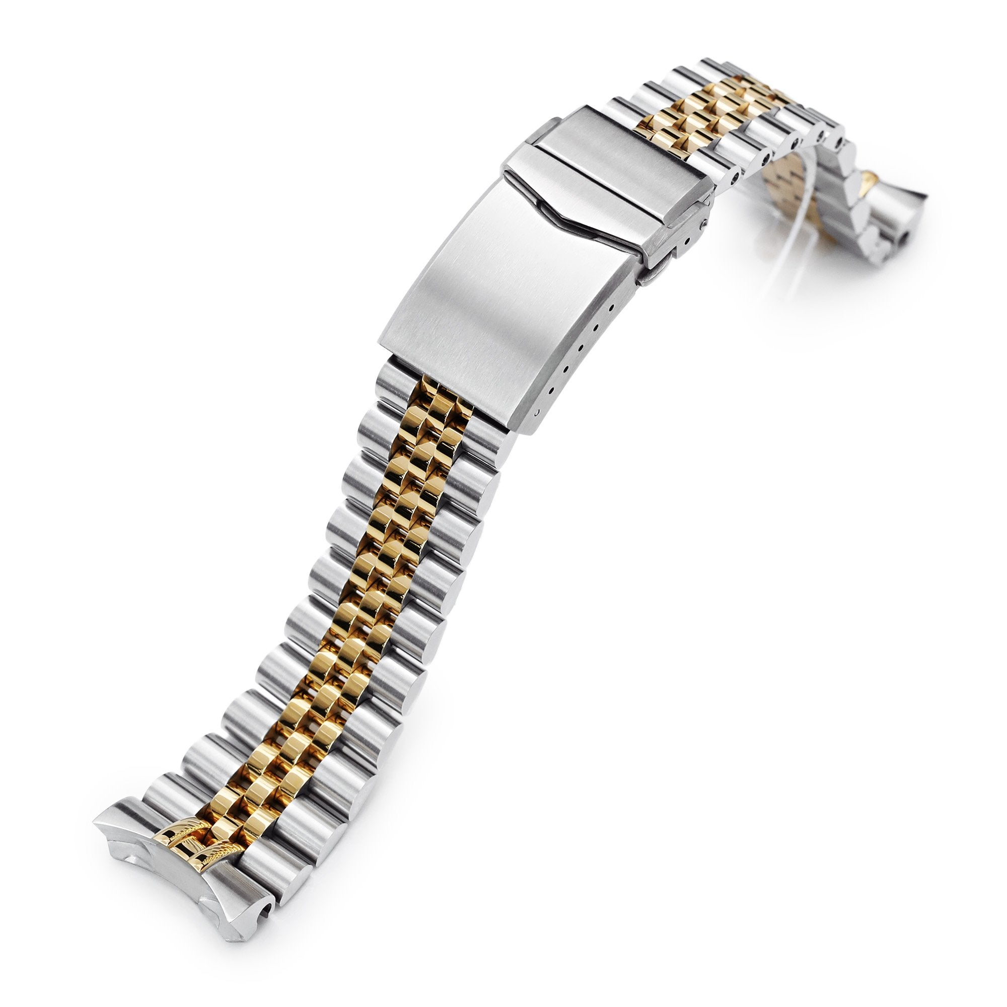 22mm Super-J Louis 316L Stainless Steel Watch Band for Seiko 5, Two Tone IP Gold V-Clasp Strapcode Watch Bands