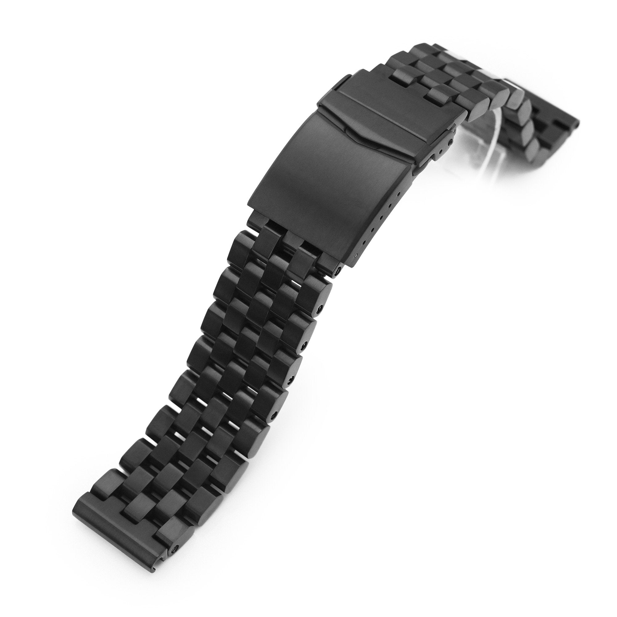 20mm, 22mm and 23mm Super Engineer II 316L Stainless Steel Watch Band Straight End, PVD Black V-Clasp Strapcode Watch Bands