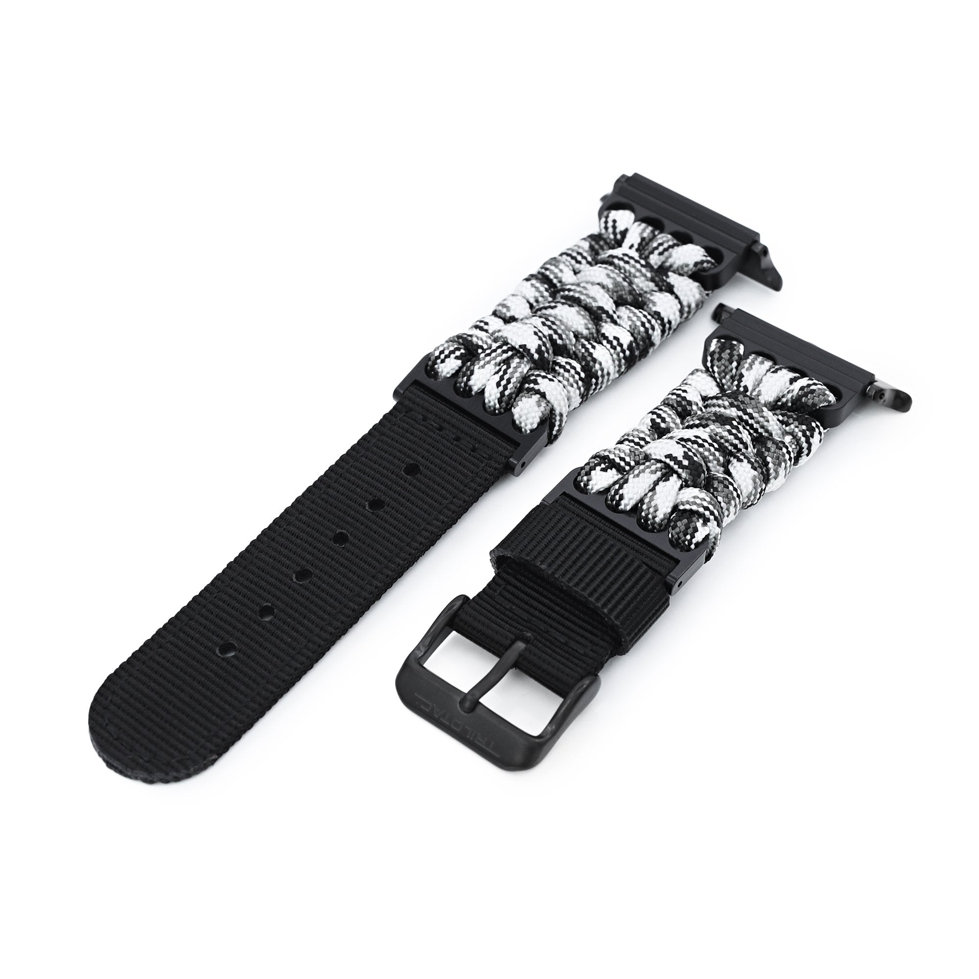 Quick Release Apple Watch 42/44mm G10 Hybrid Paracord watch band, Camo Beige & Black Strapcode Watch Bands