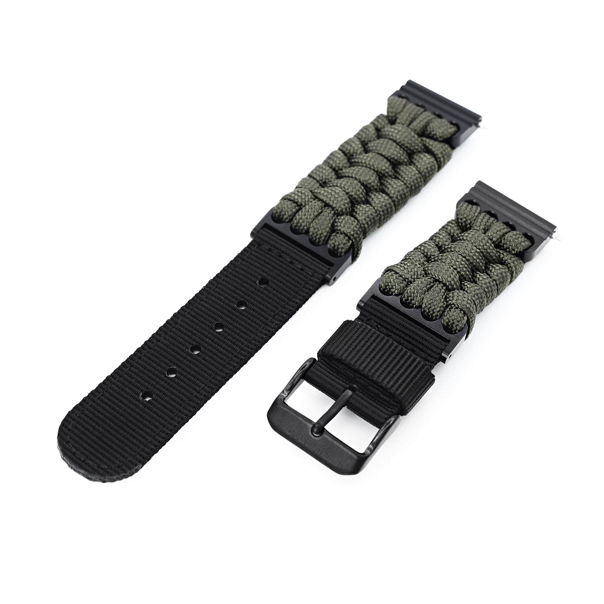 Quick Release 22mm G10 Hybrid Paracord watch Band, Military Green Strapcode Watch Bands