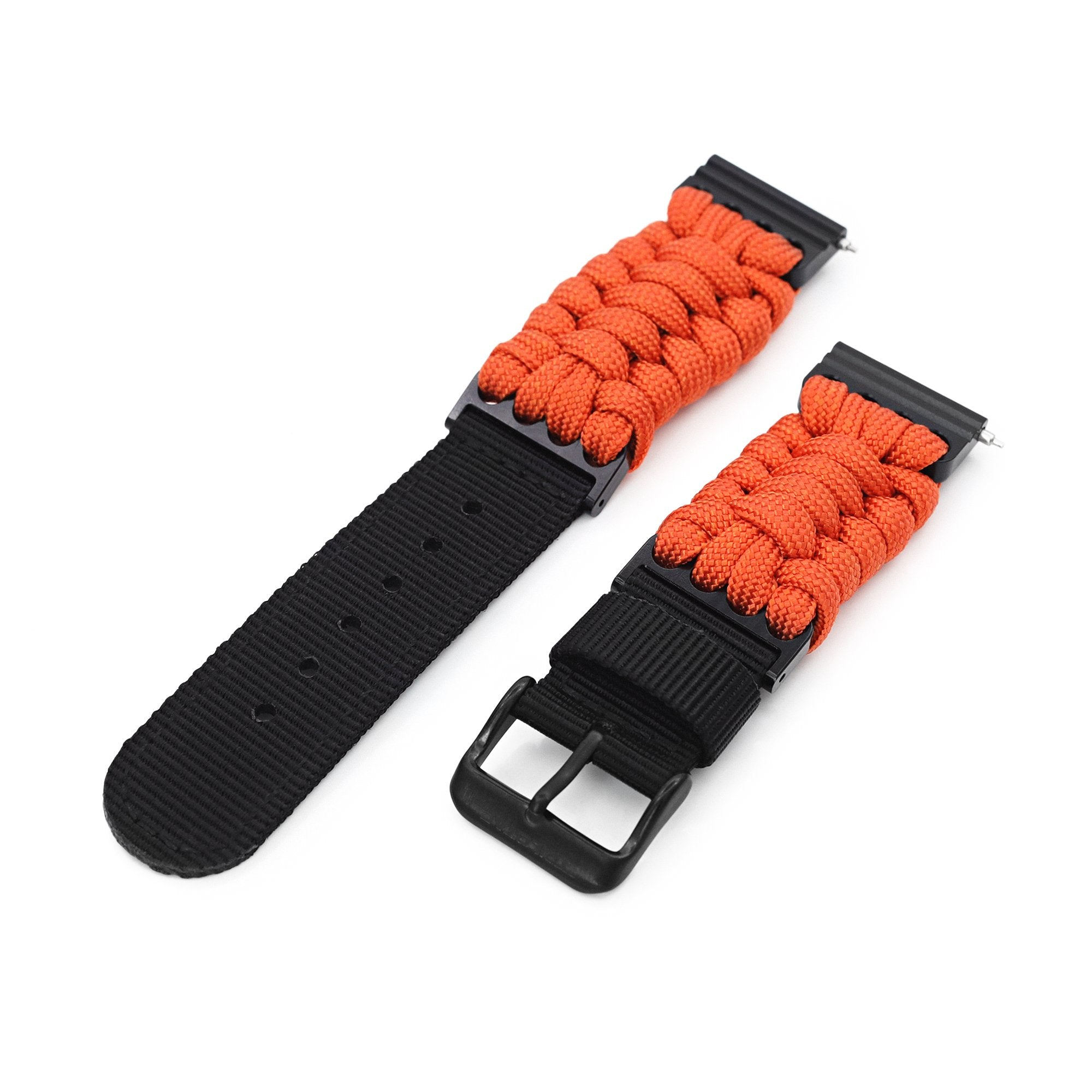 Quick Release 22mm G10 Hybrid Paracord watch Band, Orange Strapcode Watch Bands