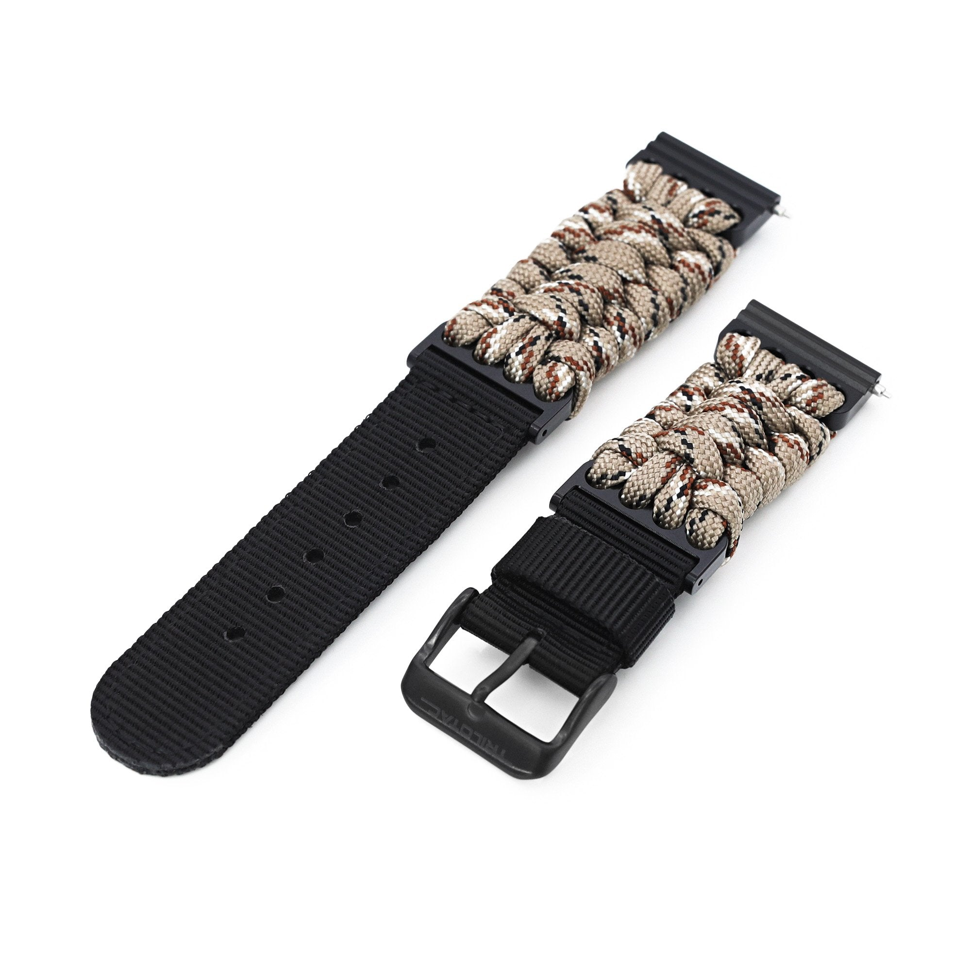 Quick Release 22mm G10 Hybrid Paracord watch Band, Desert Camo Strapcode Watch Bands