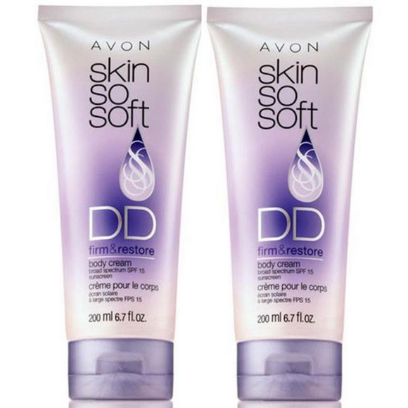 2 X Avon Skin So Soft Firm & Restore DD Body Cream SPF 15