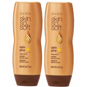 2 X Avon Skin So Soft Satin Glow Body Scrub