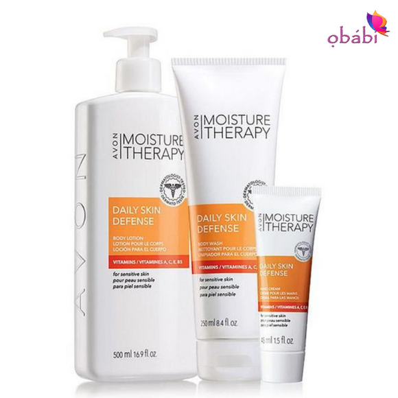 Avon Moisture Therapy Daily Skin Defense Body Trio.