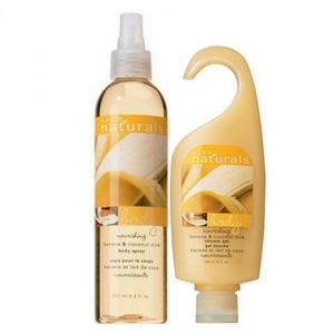 Avon Naturals Banana And Coconut Milk Body Spray And Shower Gel Bundle.