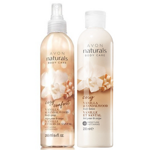 Avon Naturals Cozy Vanilla And Sandalwood Body Lotion And Body Spray Bundle