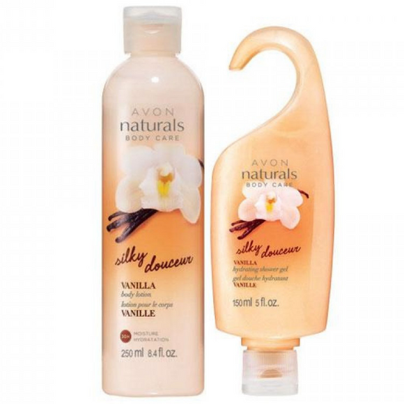 Avon Naturals Silky Vanilla Body Lotion & Shower Gel.