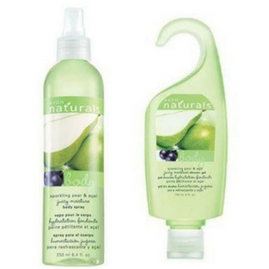 Avon Naturals Sparkling Pear & Acai Body Spray And Shower Gel Bundle.
