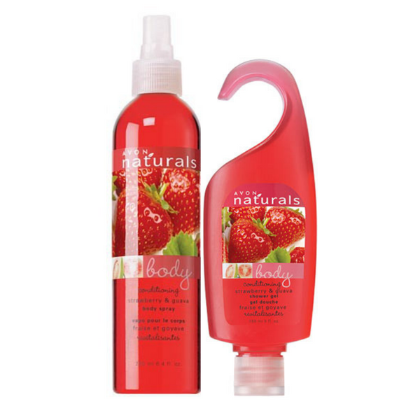 Avon Naturals Strawberry & Guava Body Spray Shower Gel Bundle.