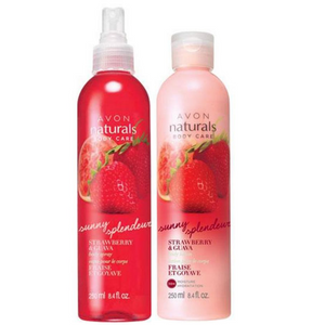 Avon Naturals Sunny Strawberry & Guava Body Lotion And Spray Bundle