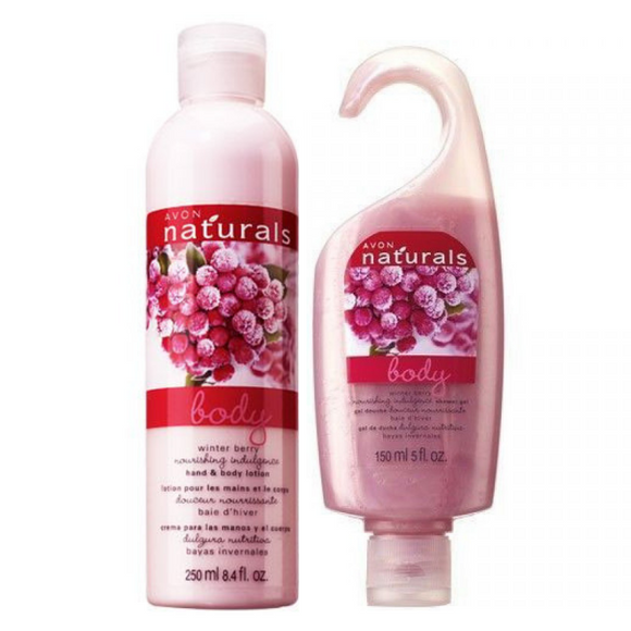 Avon Naturals Winter Berry Body Lotion & Shower Gel Bundle.
