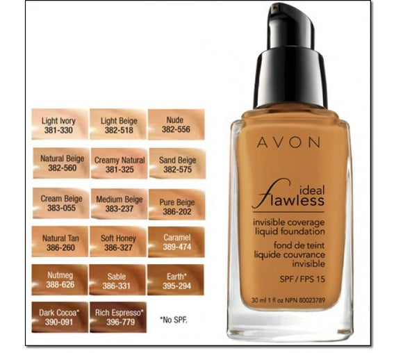 Avon Ideal Flawless Invisible Coverage Liquid Foundation | Rich Espresso
