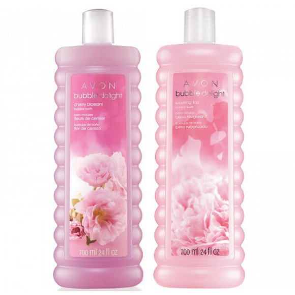 Avon Bubble Delight Blushing Kiss & Cherry Blossom Bubble Bath Duo.