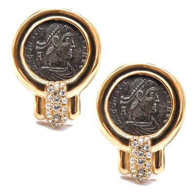Crystal Accented Round Coin Earring