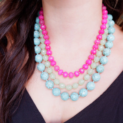 Vintage Fuchsia Quartz, Mint, and Turquoise Gradual Semi-Precious Necklace