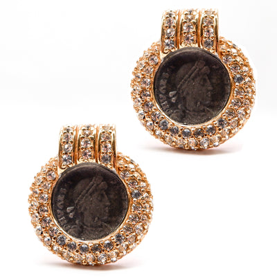 Crystal Encrusted Round Coin Earrings