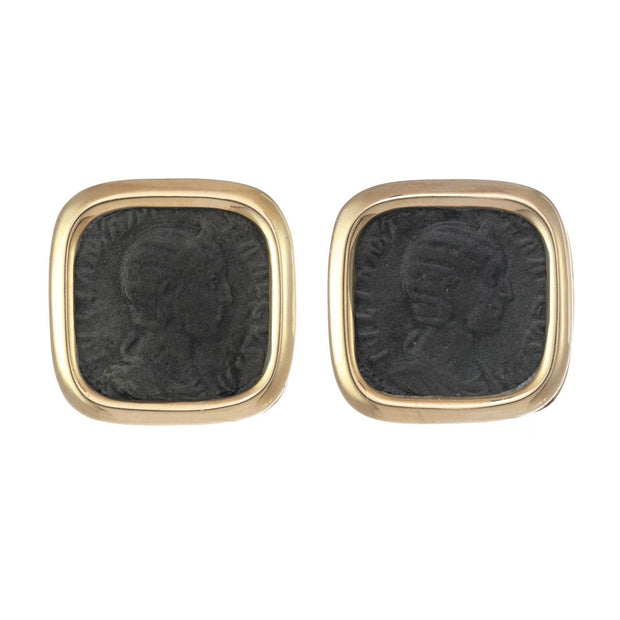 Polished Square Coin Earrings