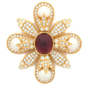 Ruby and Pearl Maltese Cross Pin Pendant