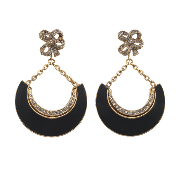 Black Crescent Bow Statement Earring