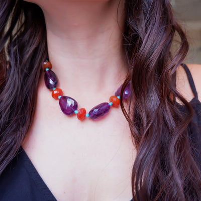 Vintage Amethyst Carnelian and Turquoise Semi-Precious Necklace