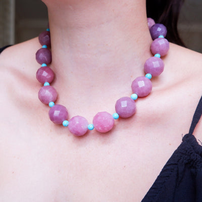 Vintage Purple Raspberry Quartz and Turquoise Semi-Precious Necklace