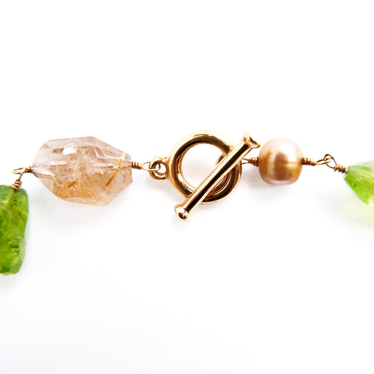 Vintage Golden Freshwater Pearl Peridot Rutilated Quartz Smokey Quartz and Citrine Semi Precious Necklace