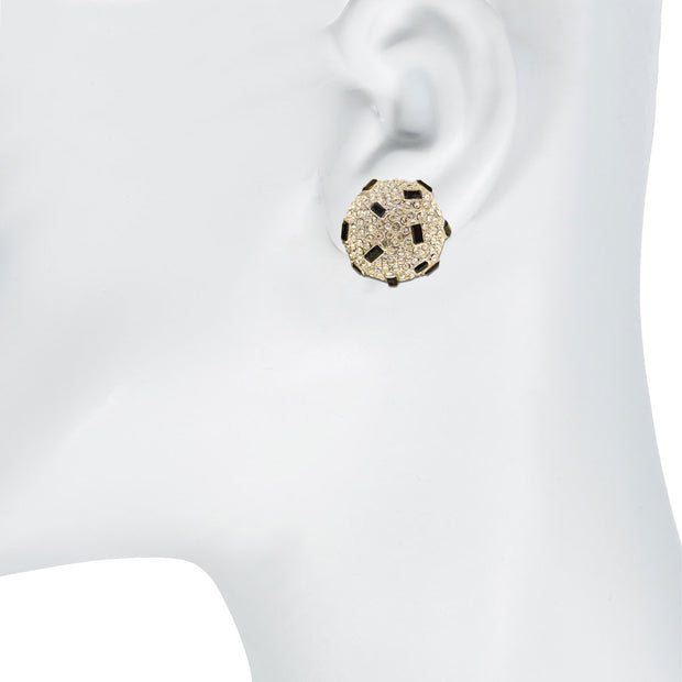Crystal and Jet Encrusted Button Earring