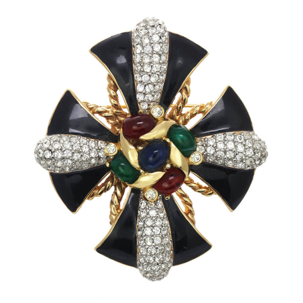Black Enamel and Gemstone Encrusted Pin Pendant