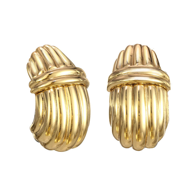 Gold Ribbed Triumph Earrings