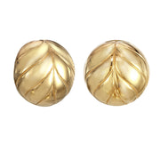 Gold Chevron Button Earring