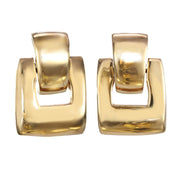 Gold Brick Door Knocker Earrings