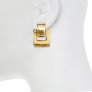 Gold Brick Door Knocker Earring