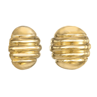 Gold Round Ribbed Earrings
