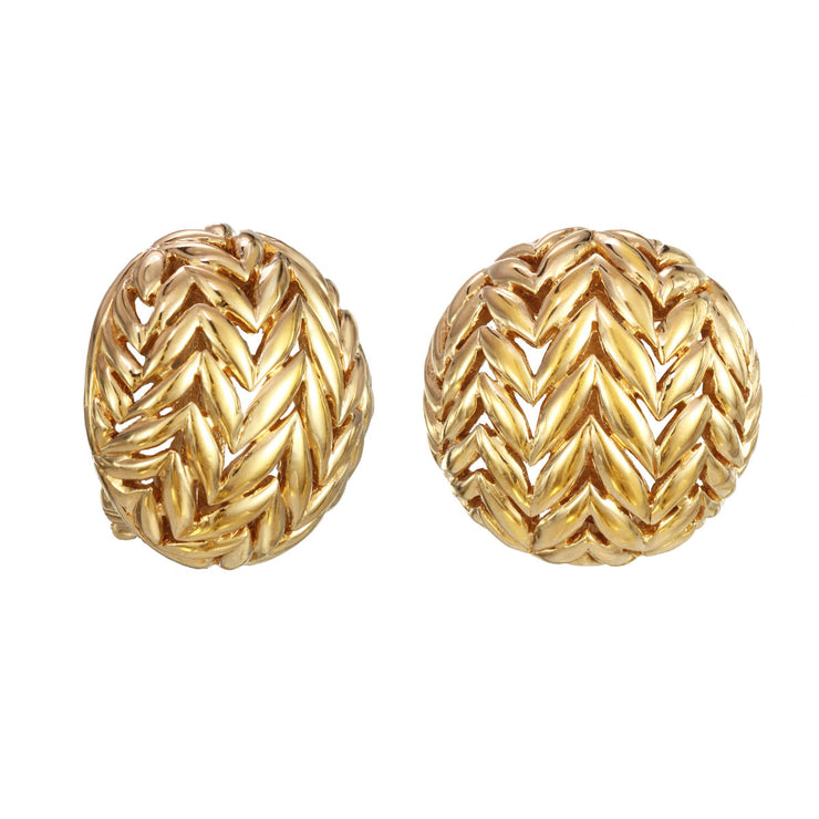 Gold Round Chevron Earrings