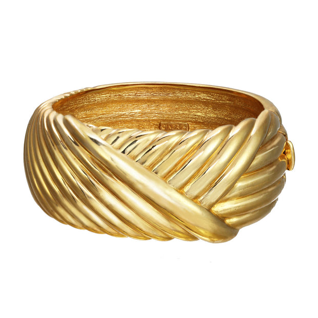 Gold Layered Ribbed Hard Cuff