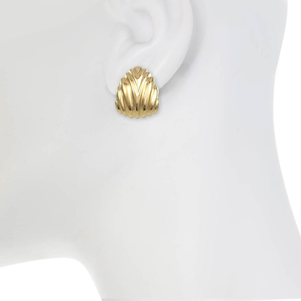 Gold Ribbed Dew Drop Earrings