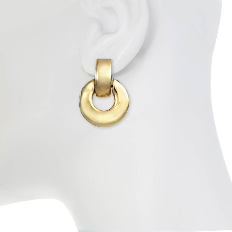 Gold Round Door Knocker Earrings
