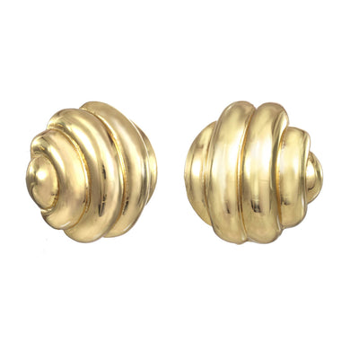 Gold Ribbed Button Earring