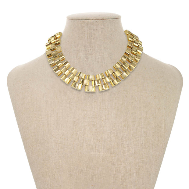 Gold Triple Brick Necklace