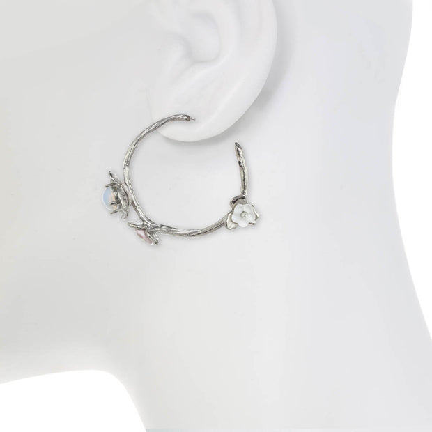Small Vine Hoop Earring