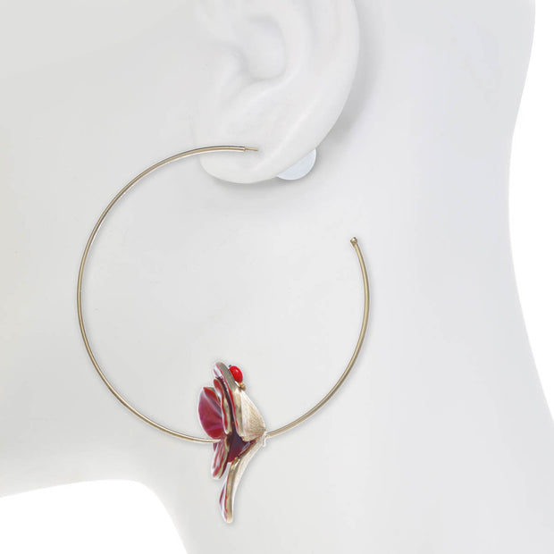 Double Flower Hoop Earring