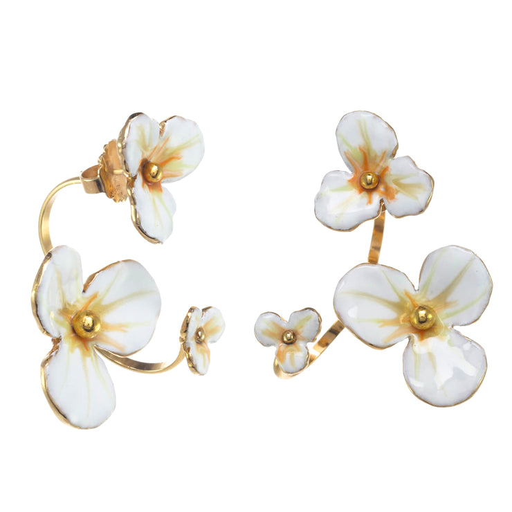 Floating Flower Open Hoop Earrings
